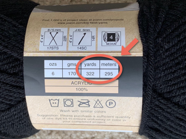 Yarn Label Yardage/Meter Identification