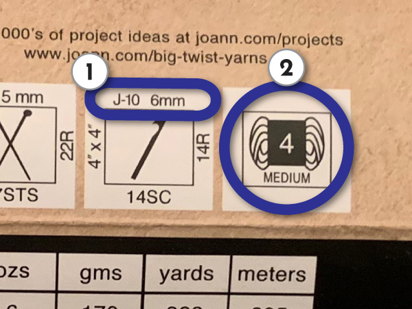 Yarn Label Identification for Recommended Hook Size and Yarn Weight